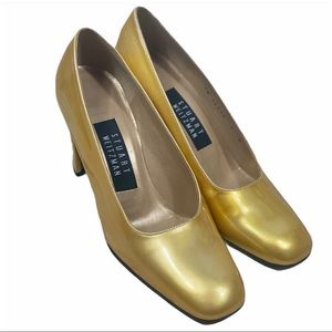 STUART WEITZMAN Gold Patent Leather Chunky Heels